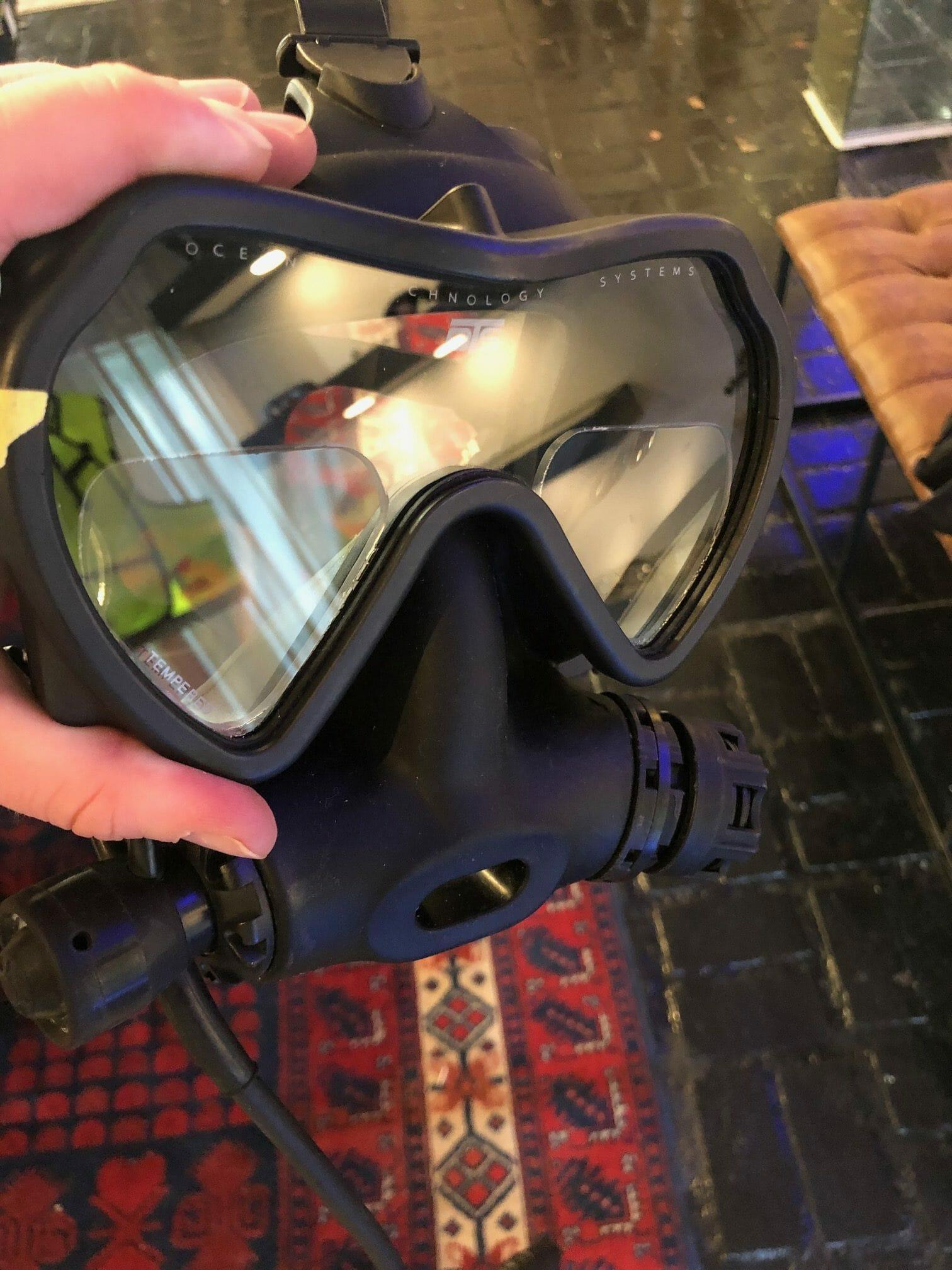 OTS Spectrum full face diving mask with reading lenses installed